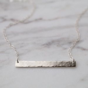 Jewelry - Sterling Silver Hammered/Textured Bar Necklace